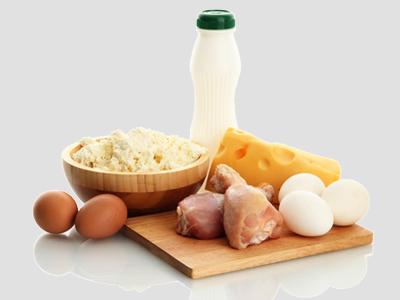 Carne, formaggio, latte e uova