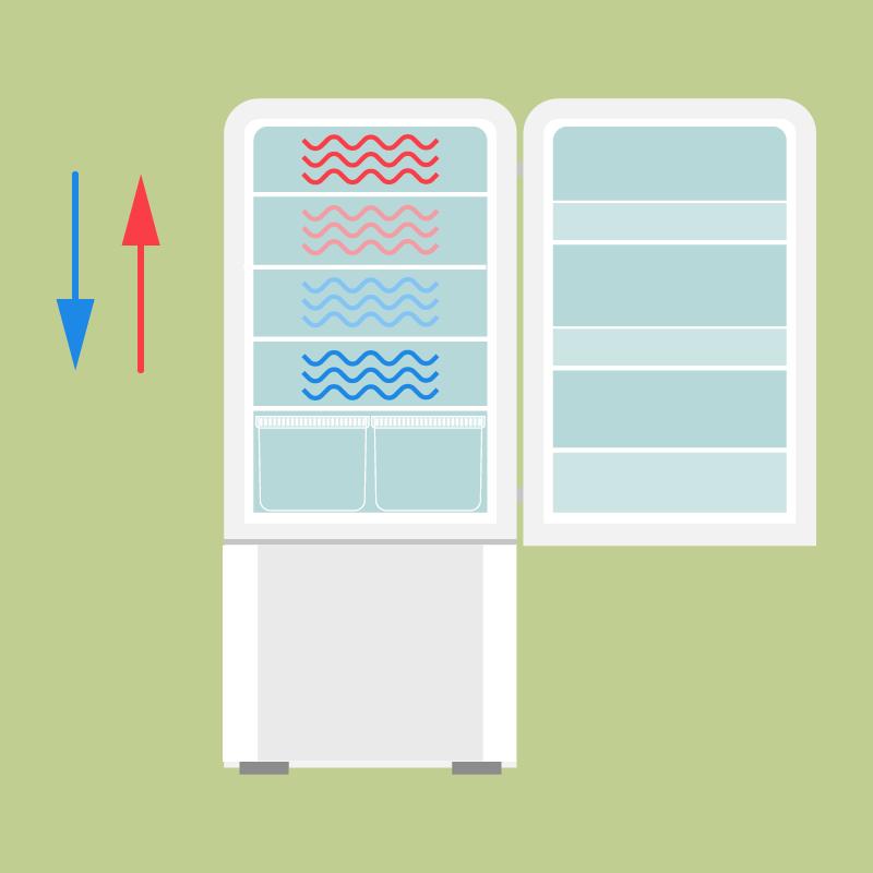all'interno dell'elettrodomestico si creano aree a temperatura diversa: l'aria fredda tende a scendere verso il basso e l'aria calda a salire verso l'alto, per cui i ripiani bassi sono più freddi di quelli alti; inoltre i ripiani sullo sportello sono il punto più caldo del frigo